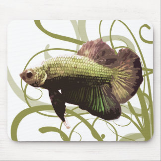 Gold Betta Siamese Fighting Fish Mouse Pad