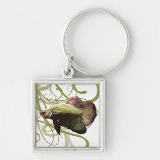 Gold Betta Siamese Fighting Fish Silver-Colored Square Keychain