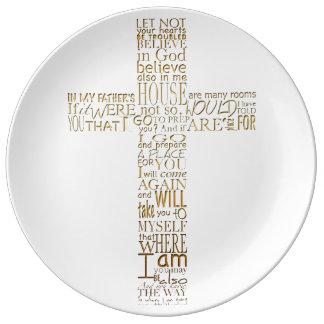 Gold Bible Verses from John 14 Porcelain Plate