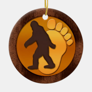 Gold Bigfoot Double-Sided Ceramic Round Christmas Ornament