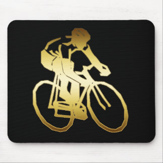GOLD BIKE RIDER MOUSE PAD