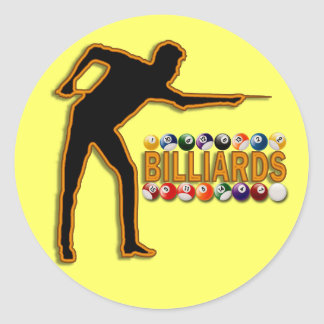 GOLD BILLIARDS PLAYER CLASSIC ROUND STICKER