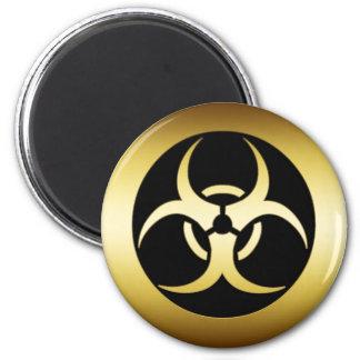 GOLD BIO-HARZARD SYMBOL 2 INCH ROUND MAGNET