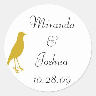 gold bird classic round sticker