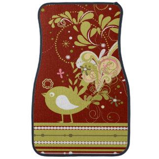 Gold Bird on Red Car Mat
