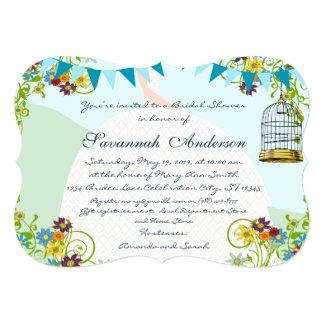 Gold Birdcage Bunting Garden Bridal Shower Invites