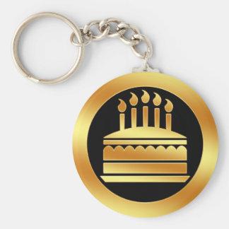 Gold Birthday Cake Keychain