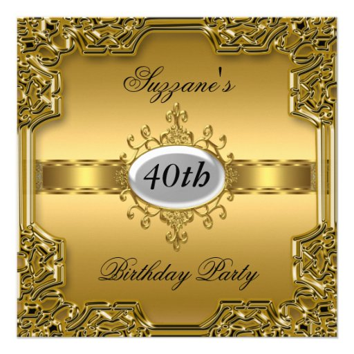 Gold Birthday Party Glamour Hot Invitation Gold