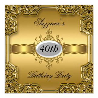 Gold Birthday Party Glamour Hot Invitation Gold Invitation