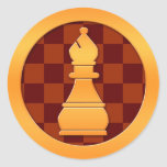 Gold Bishop Chess Piece Classic Round Sticker