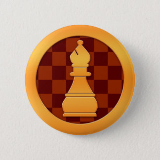 Gold Bishop Chess Piece Pinback Button