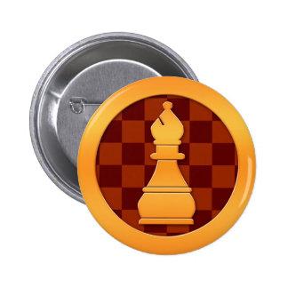 Gold Bishop Chess Piece Pinback Button
