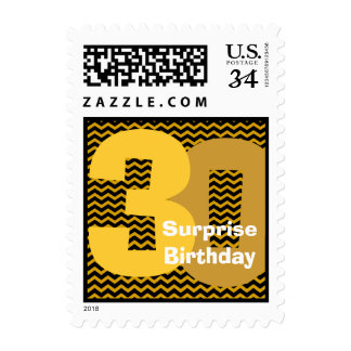 Gold Black 30th Surprise Birthday or Any Year V02 Postage