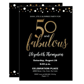 Gold Black 50 and fabulous Surprise Birthday Party Invitation