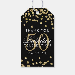 Gold Black 50 Birthday Thank You Glitter Confetti Gift Tags