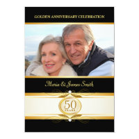 Gold Black 50th Anniversary Monogram Invitations