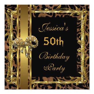 Gold Black 50th Birthday Animal Wild Elegant 2 Card