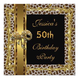 Gold Black 50th Birthday Animal Wild Elegant 3 Card