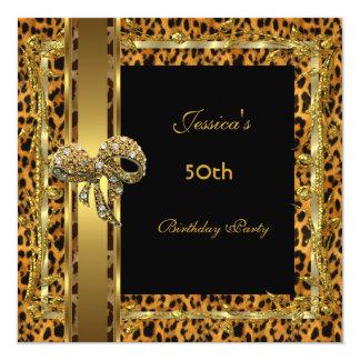 Gold Black 50th Birthday Animal Wild Elegant 5 Card