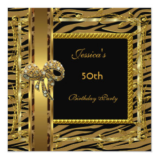 Gold Black 50th Birthday Animal Wild Elegant 6 Card