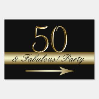Gold Black 50th Birthday Party Yard Sign