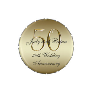 Gold Black 50th Wedding Anniversary Favor Jelly Belly Candy Tins