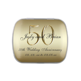 Gold Black 50th Wedding Anniversary Favor Jelly Belly Tins