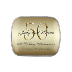 Gold Black 50th Wedding Anniversary Favor Jelly Belly Candy Tin at Zazzle