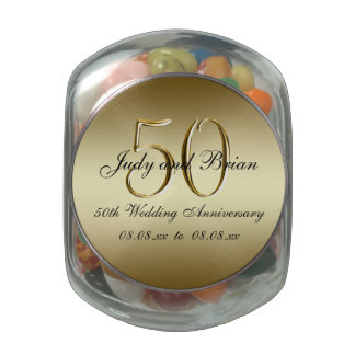 Gold Black 50th Wedding Anniversary Favor Glass Candy Jar