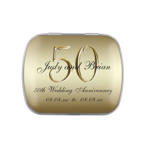 Golden Wedding Anniversary Gift Experiences : Gold Black 50th Wedding Anniversary Favor Jelly Belly Candy Tins ...