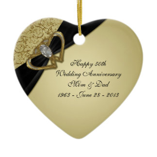 Gold Black 50th Wedding Anniversary Ornament