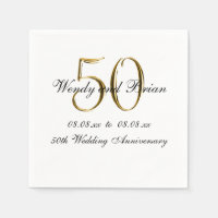 Gold Black 50th Wedding Anniversary Paper Napkins