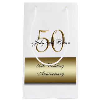 Gold Black 50th Wedding Anniversary Small Gift Bag