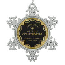 Gold Black 50th Wedding Anniversary Snowflake Pewter Christmas Ornament