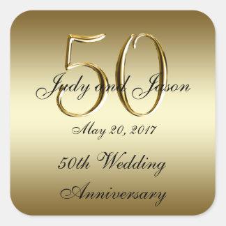 Gold Black 50th Wedding Anniversary Square Sticker