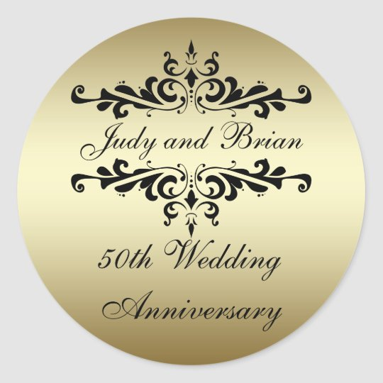 50th Wedding Anniversary Gift Etiquette: Gold Black 50th Wedding Anniversary Stickers