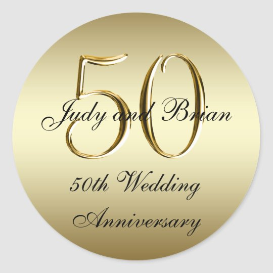 Gold Black 50th Wedding Anniversary Stickers