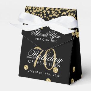 Gold Black 70th Birthday Thank You Confetti Favor Box
