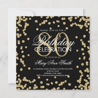 Gold Black 80th Birthday Glitter Confetti Invitation