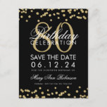 "Gold Black 80th Birthday Save Date Confetti Save The Date<br><div class=""desc"">Elegant ""80th Birthday Party"" design with Gold Faux Glitter Confetti Black and custom name and details text. Easy to use and easy to personalize. Order Today!</div>"