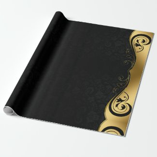 Gold Black Abstract Art Wrapping Paper