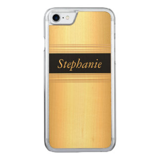 Gold Black Add your Name Wood Carved iPhone 7 Case