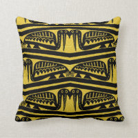 Gold & Black African Bird Motif Throw Pillow