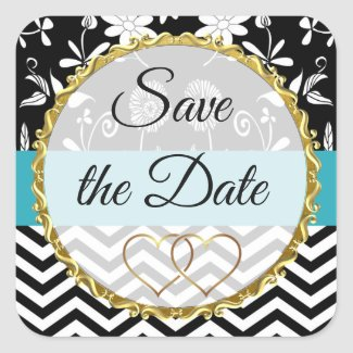 Gold, Black and Blue Floral Save the Date Stickers