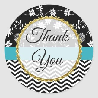 Gold, Black and Blue Floral Thank You Stickers
