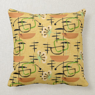 Gold, Black and Green Fifties Retro Style Throw Pillow