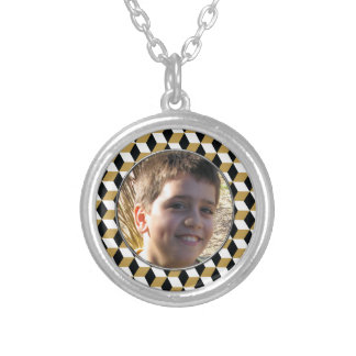 Gold Black and White 3D Cubes Pattern Silver Plated Necklace