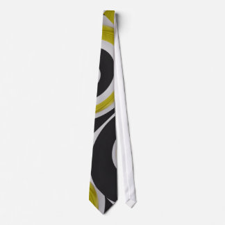 Gold black and white abstract arty tie
