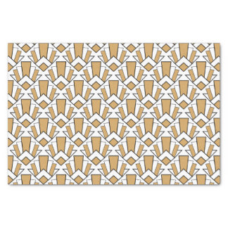 Gold, Black and White Art Deco Fan Flowers Pattern Tissue Paper