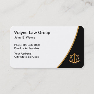 Gold Black And White Attorney Law Scale Business Card